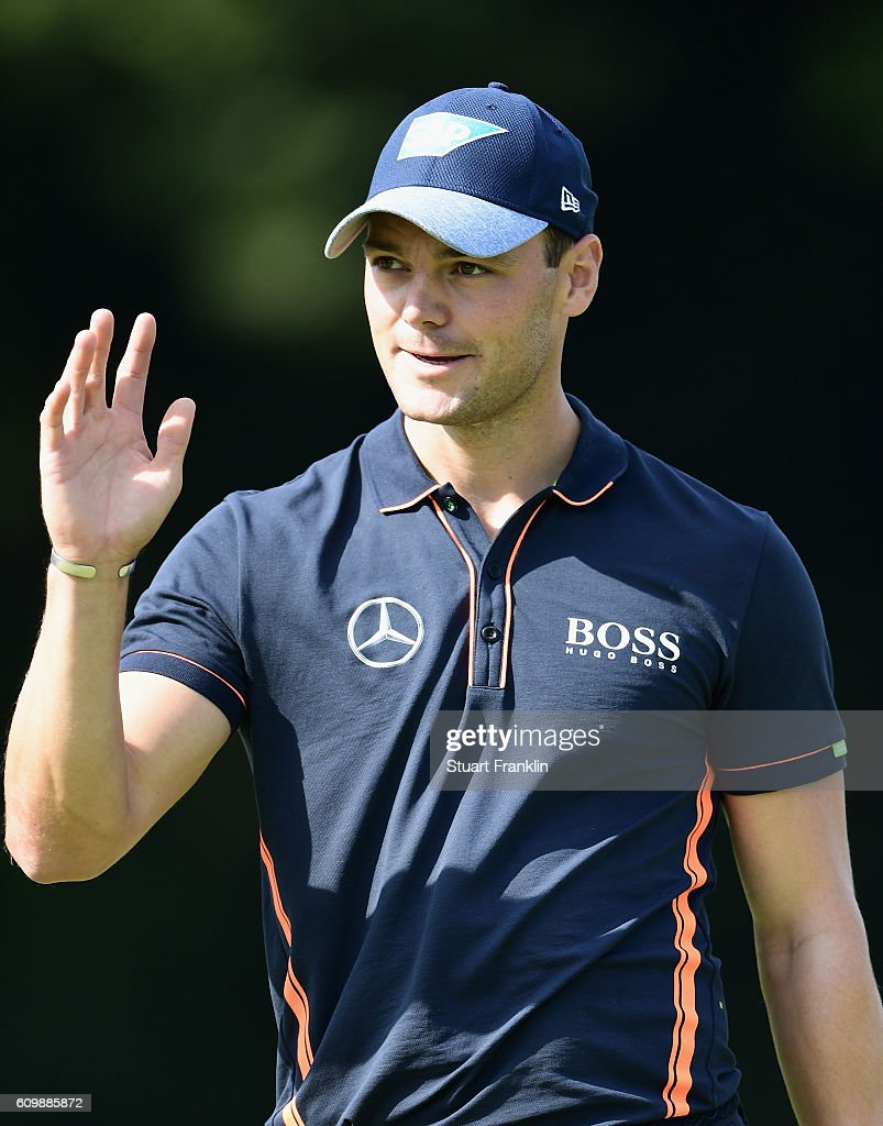 Martin Kaymer of Germany reacts during the continuation of the weather delayed first round of the Porsche European Open at Golf Resort Bad Griesbach on September 23, 2016 in Passau, Germany.