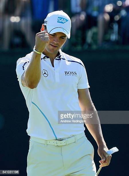 Martin Kaymer of Germany reacts to a birdie on the fourth hole during the continuation of the second round of the US Open at Oakmont Country Club on...