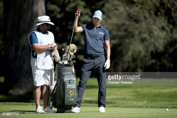 Martin Kaymer of Germany selects a club on the 13th hole during the third round of the Genesis Open at Riviera Country Club on February 17 2018 in...