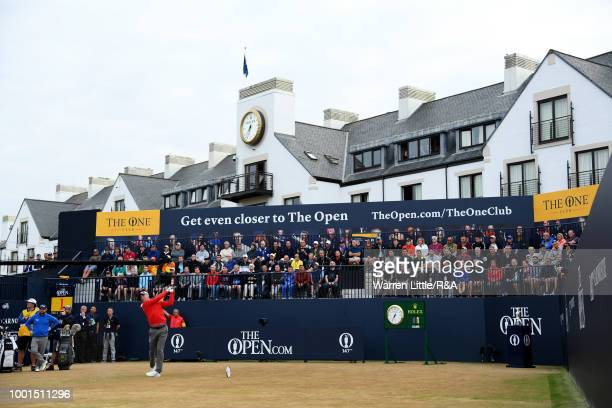 Martin Kaymer of Germany tees off at the 1st hole during round one of the 147th Open Championship at Carnoustie Golf Club on July 19 2018 in...