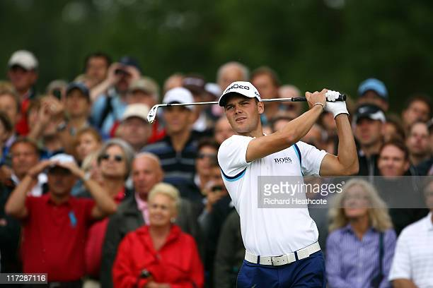 Martin Kaymer of Germany tee's off at the 2nd during the third round of the BMW International Open at Golfclub Munchen Eichenried on June 25, 2011 in...