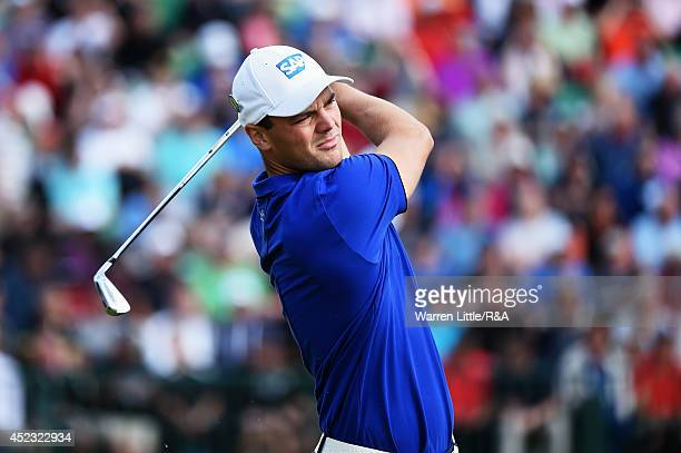 Martin Kaymer of Germany tees off at the fourth hole during the second round of The 143rd Open Championship at Royal Liverpool on July 18 2014 in...