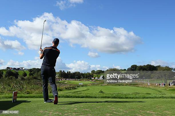 Martin Kaymer of Germany tees off on the 2nd hole during the third round of Made in Denmark at Himmerland Golf Spa Resort on August 27 2016 in...