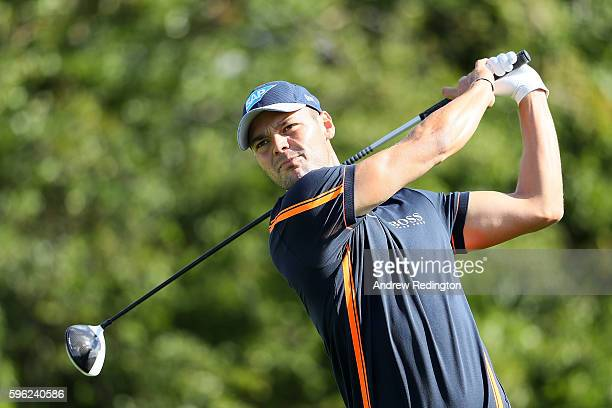 Martin Kaymer of Germany tees off on the 3rd hole during the third round of Made in Denmark at Himmerland Golf Spa Resort on August 27 2016 in...