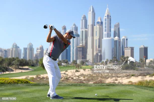 Martin Kaymer of Germany tees off on the 8th hole during the final round of the Omega Dubai Desert Classic at Emirates Golf Club on February 5 2017...