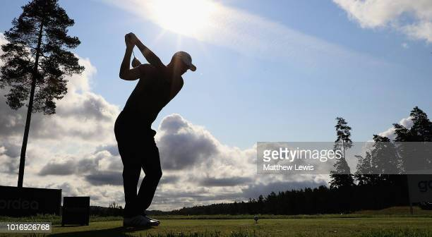 Jens Dantorp of Sweden tees off on the 17th hole during a practice round ahead of the Nordea Masters at Hills Golf Club on August 15 2018 in...