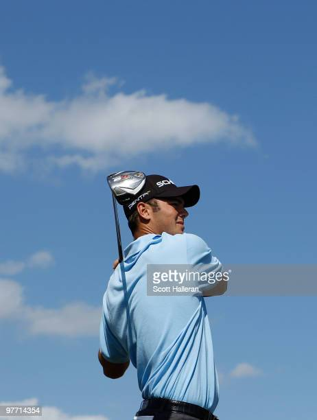 Martin Kaymer of Germany tees off on the eighth tee box during the final round of the 2010 WGCCA Championship at the TPC Blue Monster at Doral on...