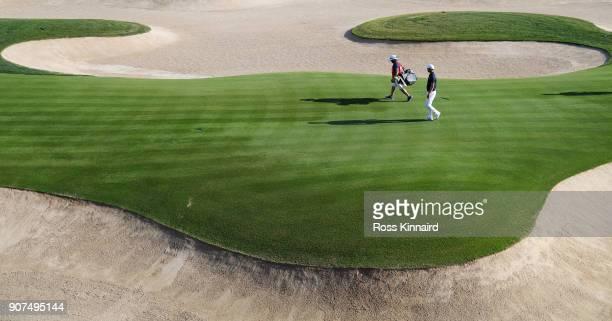 Martin Kaymer of Germany walks on the 18th hole during round three of the Abu Dhabi HSBC Golf Championship at Abu Dhabi Golf Club on January 20 2018...