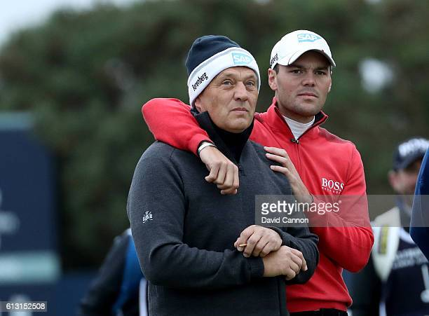 Martin Kaymer of Germany with his father Horst Kaymer on the tee at the first hole during the second round of the Alfred Dunhill Links Championship...