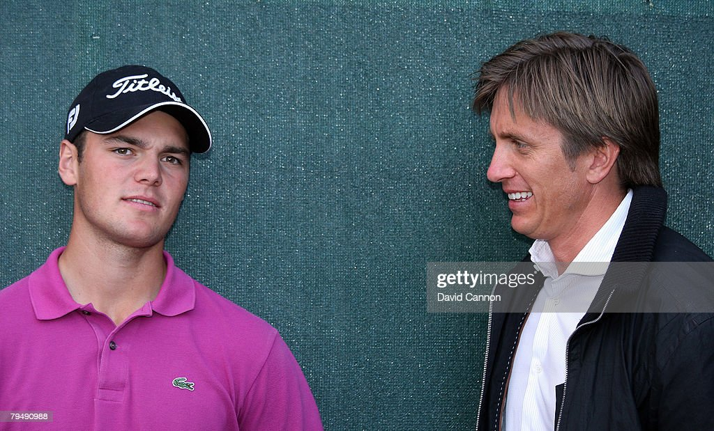 Martin Kaymer of Germany with Johan Elliot his manager after the final round of the Dubai Desert Classic, on the Majilis Course at the Emirates Golf Club, on February 3, 2008 in Dubai, United Arab Emirates.