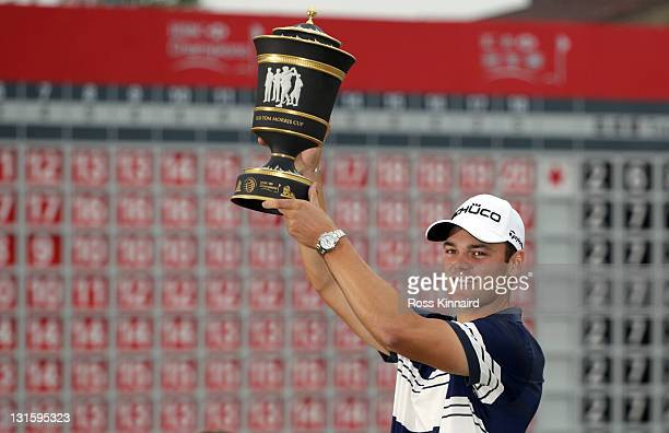 Martin Kaymer of Germany with the winners trophy after the final round of the WGC-HSBC Champions at Sheshan International Golf Club on November 6,...