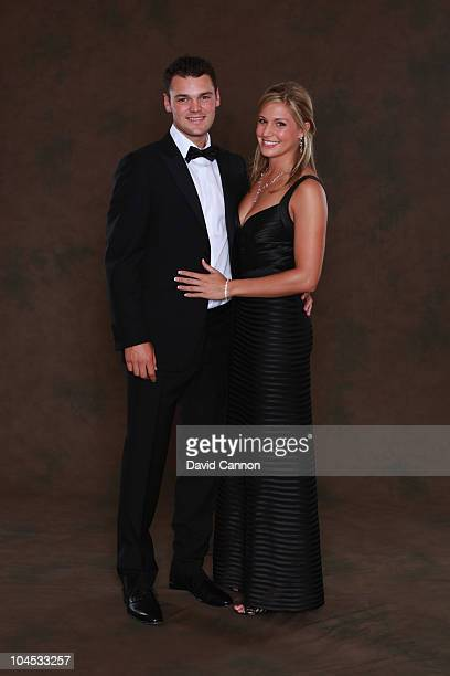 Martin Kaymer of the European Ryder Cup team poses with partner Allison Micheletti prior to the 2010 Ryder Cup Dinner at the Celtic Manor Resort on...