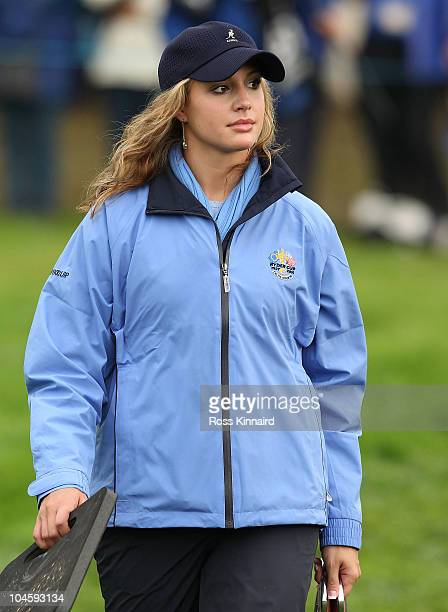 Martin Kaymer's partner Allison Micheletti looks on during the Morning Fourball Matches during the 2010 Ryder Cup at the Celtic Manor Resort on...