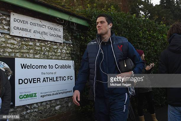 Martin Kelly arrives before the FA Cup Third Round match between Dover Athletic and Crystal Palace on January 4 2015 in Dover England