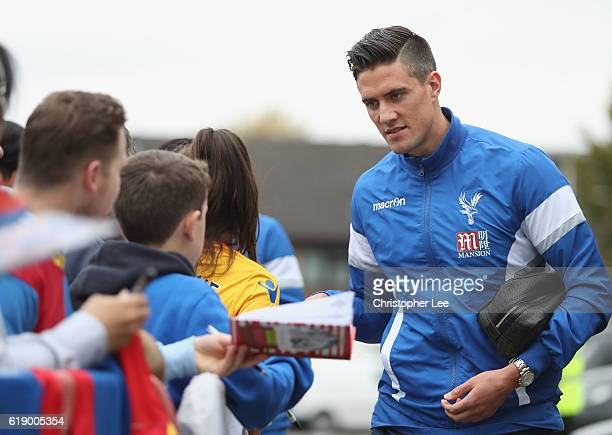 Martin Kelly of Crystal Palace arrives at the stadiium prior to kick off during the Premier League match between Crystal Palace and Liverpool at...