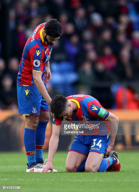 Martin Kelly of Crystal Palace goes down injured during the Premier League match between Crystal Palace and Newcastle United at Selhurst Park on...