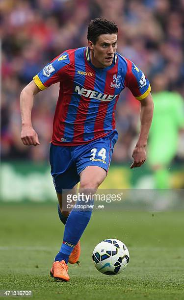 Martin Kelly of Crystal Palace in action during the Barclays Premier League match between Crystal Palace and Hull City at Selhurst Park on April 25...