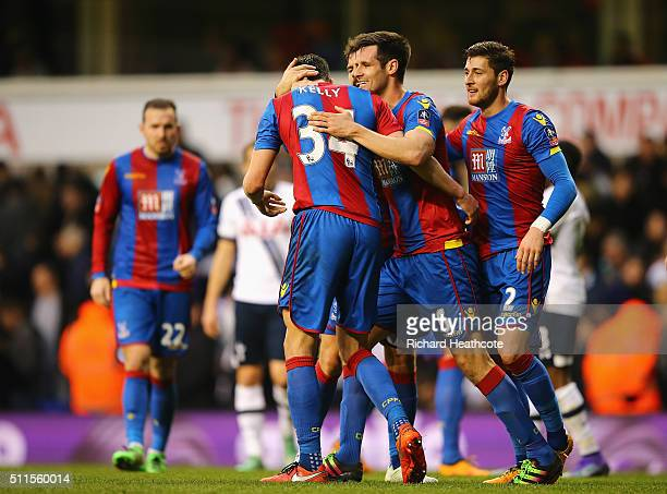 Martin Kelly of Crystal Palace is congratulated by Scott Dann of Crystal Palace after the Emirates FA Cup Fifth Round match between Tottenham Hotspur...