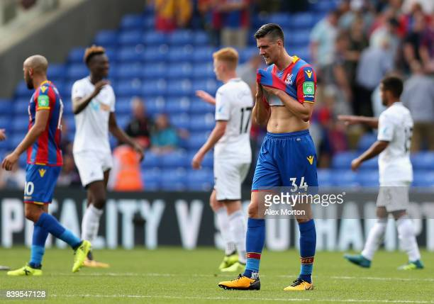 Martin Kelly of Crystal Palace is dejected after the Premier League match between Crystal Palace and Swansea City at Selhurst Park on August 26 2017...