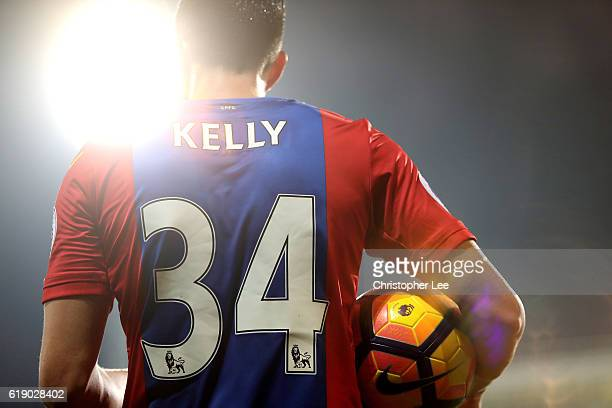 Martin Kelly of Crystal Palace prepares to take a thrown in during the Premier League match between Crystal Palace and Liverpool at Selhurst Park on...