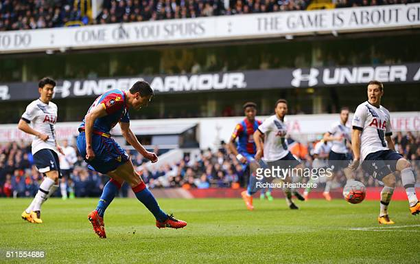 Martin Kelly of Crystal Palace scores the opening goal during the Emirates FA Cup Fifth Round match between Tottenham Hotspur and Crystal Palace at...