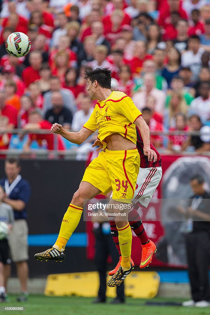 Martin Kelly #34 of Liverpool heads the ball away from Stephan El Shaarawy #92 of A.C. Milan during first half action in the Guinness International Champions Cup at Bank of America Stadium on August 2, 2014 in Charlotte, North Carolina. Liverpool defeated A.C. Milan 2-0.