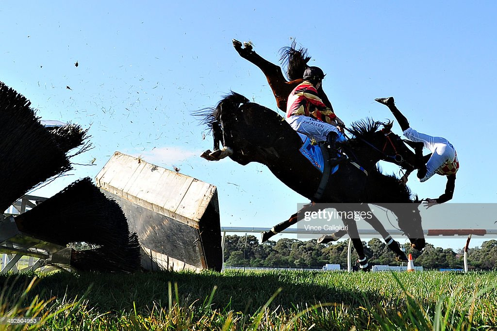 Martin Kelly riding Show Dancer crashes through the steeple jump and falls to the ground in Race 1, the Follow @ MRCTracknews on Twitter Steeplechase during Sportingbet Park Race Day at Sandown Lakeside on May 21, 2014 in Melbourne, Australia.