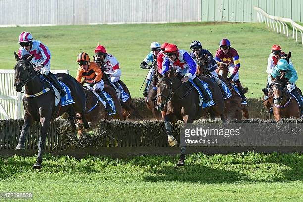Martin Kelly riding Thubiaan jumping the Tozer rd double before defeating John Allen riding Regina Coeli in Race 6 the Brierly Steeplechase during...