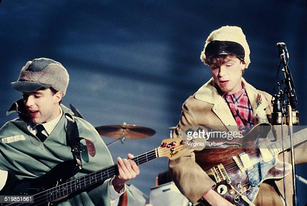 Martin Kemp and Gary Kemp of Spandau Ballet perform during a video shoot for their single 'Instinction' 12th March 1982