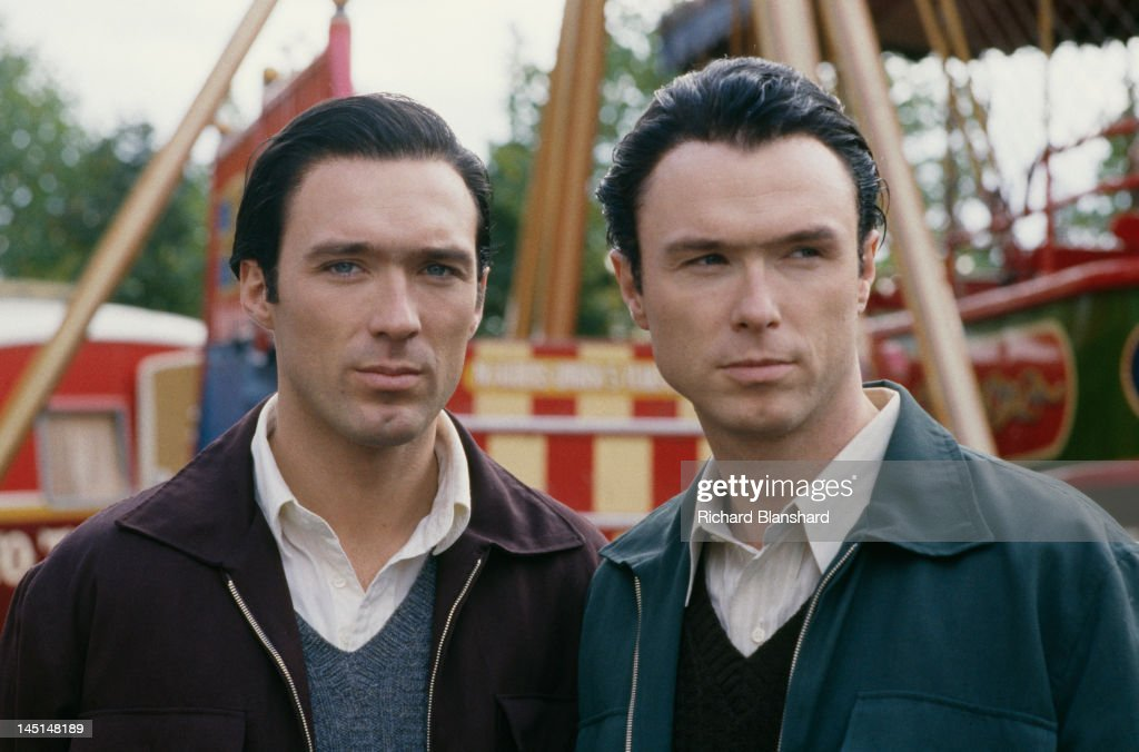Martin Kemp (left) and his brother Gary on the set of 'The Krays', directed by Peter Medak, 1990. The Kemps star in the film as British gangsters Reggie and Ronnie Kray.