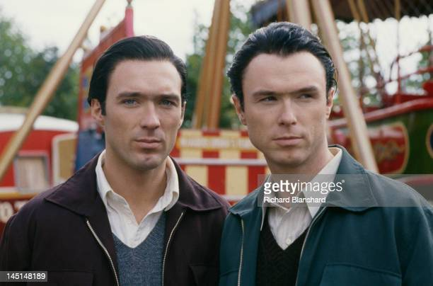 Martin Kemp and his brother Gary on the set of 'The Krays' directed by Peter Medak 1990 The Kemps star in the film as British gangsters Reggie and...