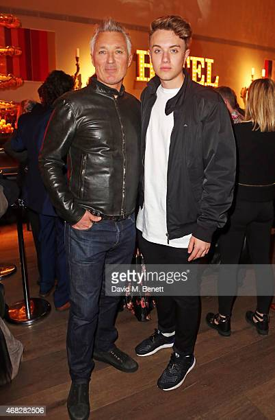 Martin Kemp and son Roman Kemp attend a private screening of 'Age Of Kill' at The Ham Yard Hotel on April 1 2015 in London England