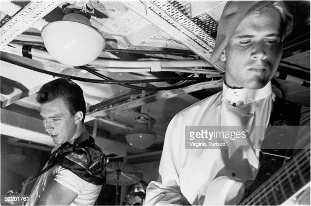 Martin Kemp and Steve Norman from Spandau Ballet perform live on HMS Belfast on July 26 1980