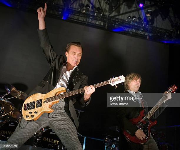 Martin Kemp and Steve Norman of Spandau Ballet perform on stage at LG Arena on October 24 2009 in Birmingham England