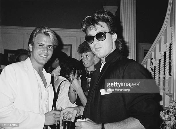 Martin Kemp and Steve Norman of Spandau Ballet at a party at Stocks House Hertfordshire 1984