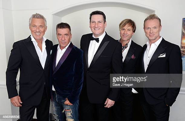 Martin Kemp John Keeble Tony Hadley Steve Norman and Gary Kemp backstage before the World Premiere of Soul Boys Of The Western World at Royal Albert...