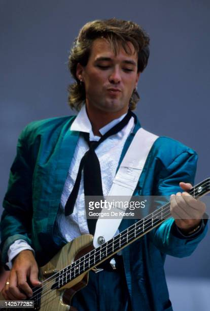Martin Kemp of Spandau Ballet performs at the Live Aid concert at Wembley Stadium in London 13th July 1985 The concert raised funds for famine relief...