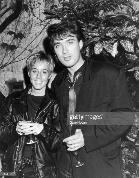 Martin Kemp of Spandau Ballet with his girlfriend Shirlie Holliman of Pepsi and Shirlie 14th July 1986 They are attending a party hosted by rock...