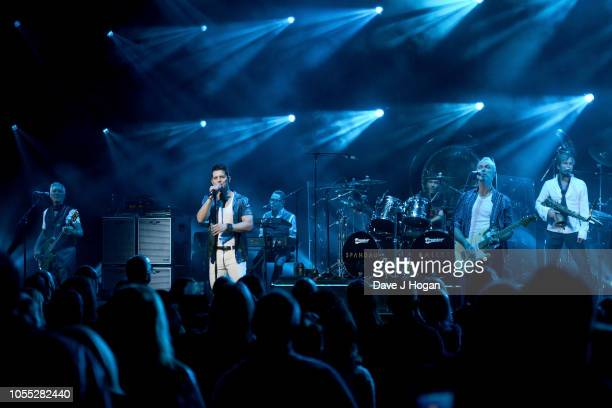 Martin Kemp, Ross William Wild, John Keeble, Gary Kemp and Steve Norman of Spandau Ballet perform on stage at Eventim Apollo on October 29, 2018 in...