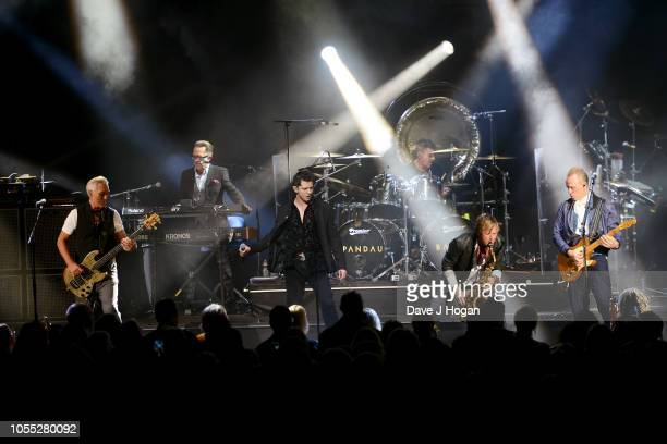 Martin Kemp, Ross William Wild , John Keeble, Steve Norman and Gary Kemp of Spandau Ballet perform on stage at Eventim Apollo on October 29, 2018 in...