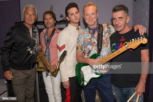 Martin Kemp Steve Norman Ross William Wild Gary Kemp and John Keeble of Spandau Ballet back stage before the show at Subterania on June 6 2018 in...