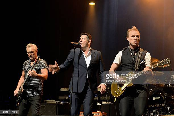 Martin Kemp Tony Hadley and Gary Kemp of Spandau Ballet performs on stage after the screening of the the 'Soul Boys of the Western World' documentary...
