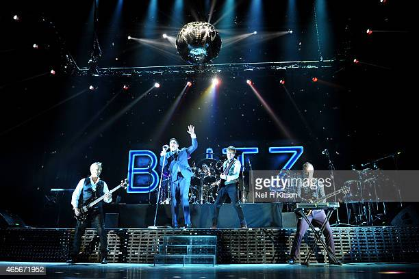 Martin Kemp Tony Hadley John Keeble Steve Norman and Gary Kemp of Spandau Ballet performs on stage at Sheffield Arena on March 6 2015 in Sheffield...