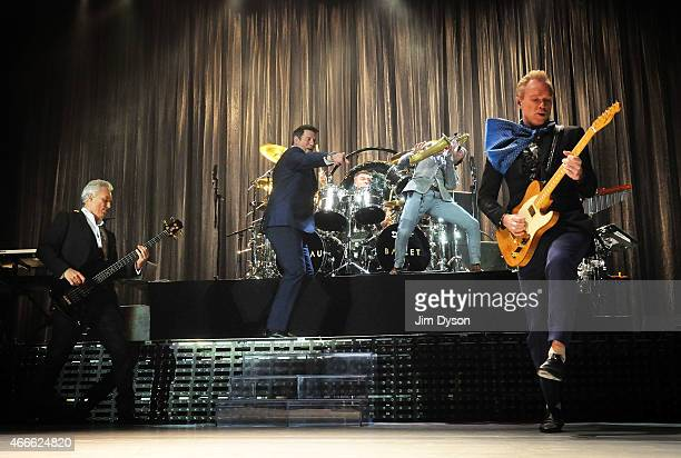 Martin Kemp Tony Hadley John Keeble Steve Norman and Gary Kemp of Spandau Ballet perform live on stage during the Soulboys Of The Western World Tour...