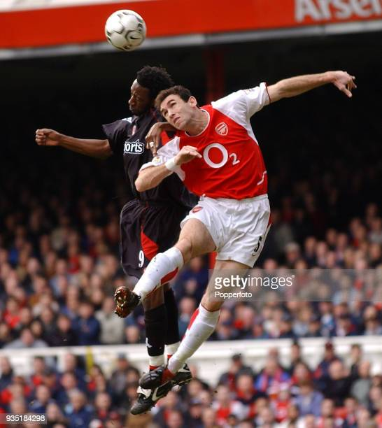 Martin Keown of Arsenal and Jason Euell of Charlton Athletic battle in the air during the FA Barclaycard Premiership match between Arsenal and...