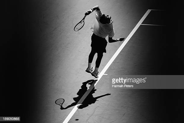 Martin Kilzan of Slovakia serves during his first round match against Xavier Malisse of Belgium during day one of the Heineken Open at ASB Tennis...