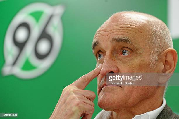 Martin Kind president of Hannover 96 looks on during the press conference of Hannover 96 at AWD Arena on January 20 2010 in Hanover Germany The club...