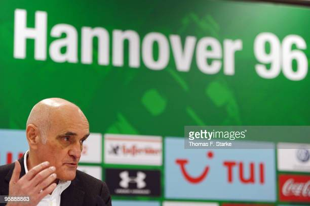 Martin Kind president of Hannover 96 talks during the press conference of Hannover 96 at AWD Arena on January 20 2010 in Hanover Germany The club...