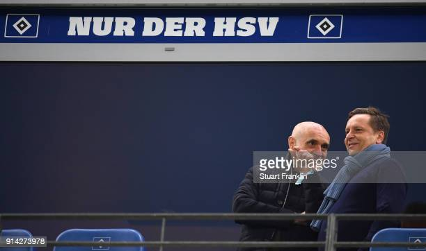 Martin Kind president of Hannover and Horst Heldt sports director of Hannover discuss during the Bundesliga match between Hamburger SV and Hannover...