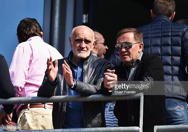 Martin Kind president of Hannover looks on during the Bundesliga match between Hannover 96 and Hamburger SV at HDIArena on April 2 2016 in Hanover...